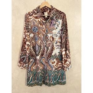 Chico's Brown Turquoise Paisley Print Tunic Size 0